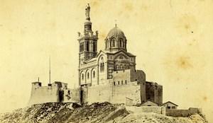 France Marseille Notre Dame de la Garde Basilique ancienne Photo CDV Neurdein 1870