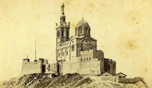 France Marseille Notre Dame de la Garde Basilica Old Neurdein CDV Photo 1870