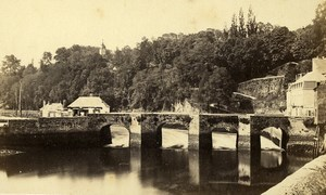 France Brittany Morbihan Bridge & River Old CDV Photo Carlier 1870