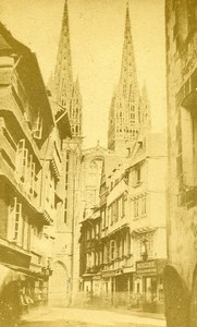 France Brittany Quimper Cathedral Saint Corentin Old CDV Photo Pepin 1870