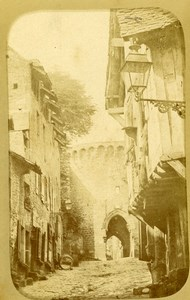 France Brittany Dinan Porte de Jerzual Medieval Gate Old CDV Photo Richard 1870