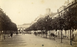 France Lorient Quiet Street Trees Old CDV Photo Corroller 1870