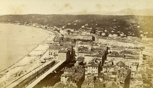 France Nice panorama vue du chateau Plage ancienne Photo CDV Degand 1870