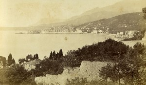 France Menton view from bridge Saint Louis Old CDV Photo Degand 1870