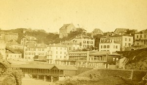 France Biarritz Port Vieux panorama ancienne Photo CDV Frois 1870