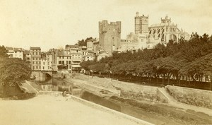 France Narbonne Cathedral panorama Old CDV Photo Verdier 1870