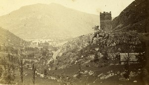 France Pyrénées Castel Vielh Tower & Luchon Old CDV Photo Soule 1870