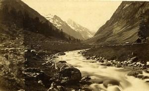 France Pyrénées Vallée de Lutour Torrent Gave de Montagne ancienne Photo CDV 1870