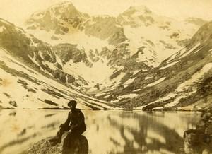 France Lac d'Estom Glacier Pics de la Sebe pres de Cauterets ancienne Photo CDV Andrieu 1870