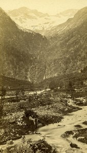 France Pyrenees Vallee du Lys Luchon Mountain Stream Old CDV Photo Soule 1872