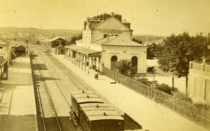 France Fontainebleau Railway Station Gare Old Sauvager CDV Photo 1870