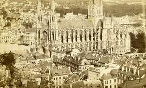 France Rouen Eglise Saint Ouen panorama ancienne Photo CDV 1870