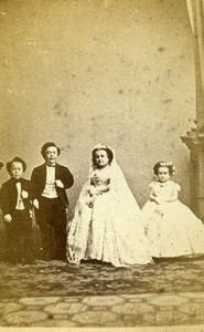 USA PT Barnum Circus General Tom Thumb Lavinia Warren Wedding Old CDV Photo 1863