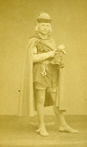 France Paris Theater Actor holding Doll & Keys Old CDV Photo Carjat 1870