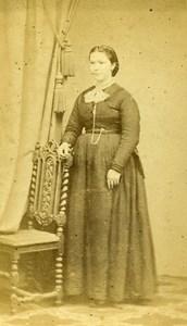 France Bailleul Femme Mode Second Empire ancienne Photo CDV Watremez 1860's