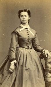 France Paris Woman Second Empire Fashion Old CDV Photo Disderi 1860's