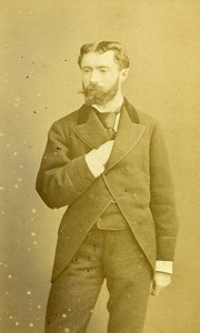 France Bordeaux Homme Mode Second Empire ancienne Photo CDV Charles 1870's