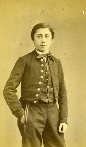 France Paris Boy in Uniform Fashion Second Empire Old CDV Photo Charavet 1860's