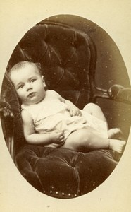 France Paris Baby on a Chair Second Empire Old CDV Photo Berthaud 1880