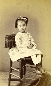 France Bordeaux Young Girl Fashion Second Empire Old CDV Photo Courreges 1860's