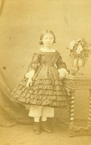 France Lyon Young Girl Fashion Second Empire Old CDV Photo Durand 1860's