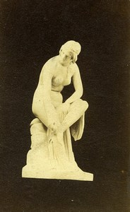 France Paris? Statue en Marbre Femme Nue assise ancienne Photo CDV 1860's