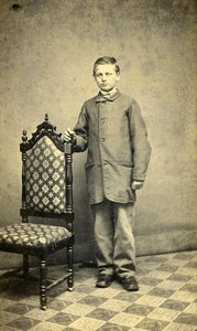 USA Illinois Canton Boy Fashion Revenue Stamp Old CDV Photo Murphy 1865
