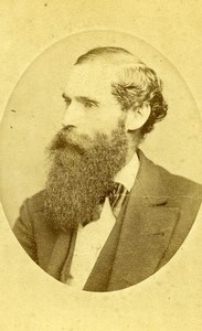 USA New York Bearded Man Fashion Old CDV Photo Fredricks 1865