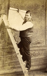 United Kingdom Blandford Decorator? Wallpaper Stepladder CDV Photo Nesbitt 1870