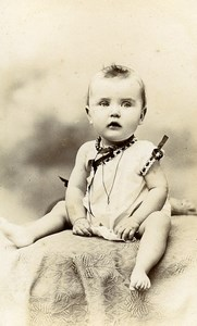 France Paris Baby Fashion Necklace Old CDV Photo Fontes 1900