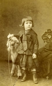 France Paris young Rider Fashion Horse or Goat? Toy Old CDV Photo Berthaud 1884