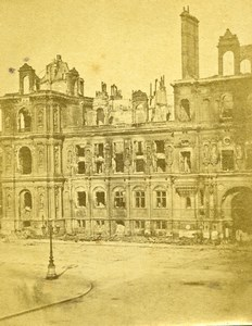 Siege de Paris Commune Ruines ancienne Photo CDV Liebert 1871