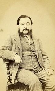 France Paris Portrait Man Sitting Beard Second Empire Old Photo CDV Pesme 1860's