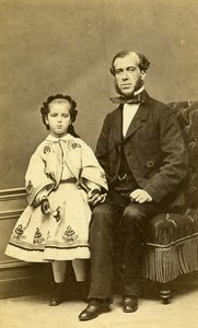 France Chartres Father & Daughter Second Empire Old Photo CDV Gallas 1860's