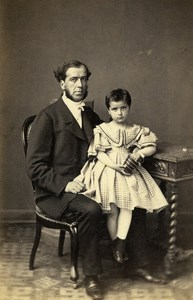 France Portrait Father & Daughter Second Empire Old Photo CDV 1860'