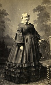 France Paris Second Empire Fashion Older Lady Old Photo CDV Mouret 1860'