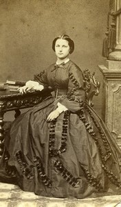 France Paris Second Empire Fashion Woman Old Photo CDV Bousseton & Appert 1860'