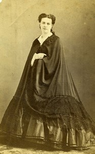 France Paris Second Empire Fashion Woman Old Photo CDV Piallat 1860'