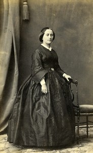 France Paris Fashion Woman Old Photo CDV Joannes Adrien Tournachon 1860'
