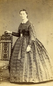 France Rouen Second Empire Fashion Woman Old Photo CDV Witz 1860's