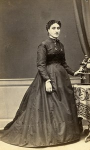 France Toulouse Second Empire Fashion Woman Old Photo CDV Marrast 1860'
