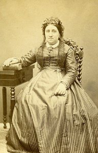 France Chartres Second Empire Fashion Woman Old Photo CDV Rondin 1860'