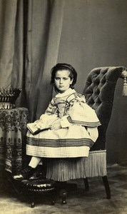 France Le Mans? Young Girl Second Empire Fashion Photo CDV Gustave Jeune 1860's
