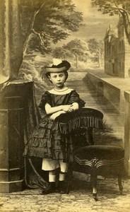 France Nantes Young Girl Second Empire Fashion Children Photo CDV Bodinier 1860s