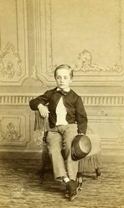 France Paris Jeune Garcon Enfant Mode Second Empire ancienne Photo CDV Franck 1860's