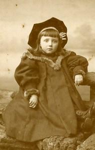 France Lille Fashion Children Hat Old Photo CDV Cayez 1890'