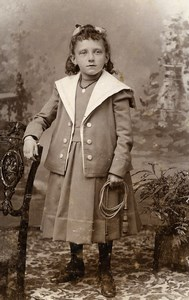 France Lille Young Girl Fashion Children Old Photo CDV Cayez 1890'