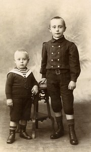 France Lille Young Boys Fashion Children Old Photo CDV Vandorpe 1900