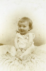 France Lille Fashion Smiling Baby Old Photo CDV Frobert 1890'