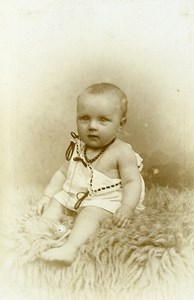 France Lille Fashion Sitting Baby Old Photo CDV Frobert 1900
